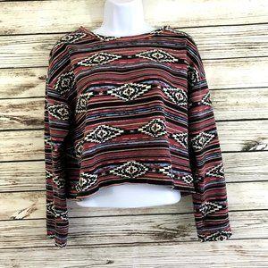 Southwest Print Boho Cropped Sweatshirt